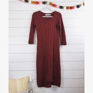 Anthro • Sparrow Pumpkin Cable Knit Sweater Dress